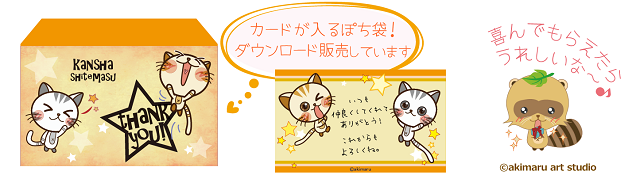 メッセージカード使用イメージ-ぽち袋とセット-akimaru art shop-猫&タヌキ&うさぎグッズ紹介